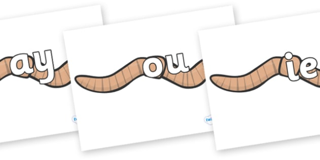 Phase 5 Phonemes on Worms - Phonemes, phoneme, Phase 5, Phase five, Foundation, Literacy, Letters and Sounds, DfES, display