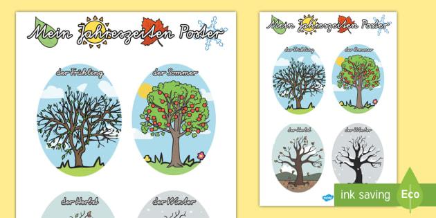 vier jahreszeiten malvorlagen englisch - zeichnen und färben