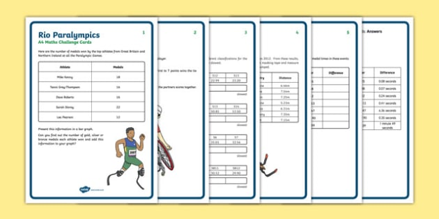 Rio Paralympics Maths Challenge Cards Resource Pack