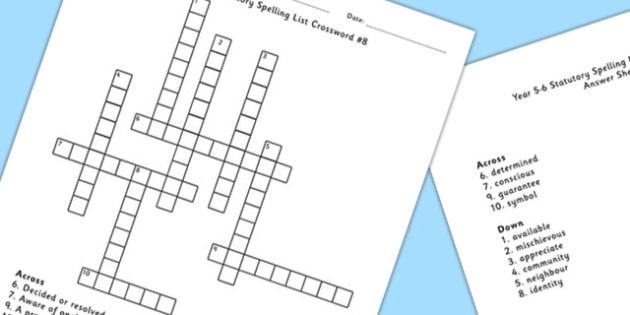 Year 5-6 Statutory Spelling List Crossword 8 - spell, crossword