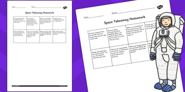 Editable Space Takeaway Homework - space, takeaway, homework