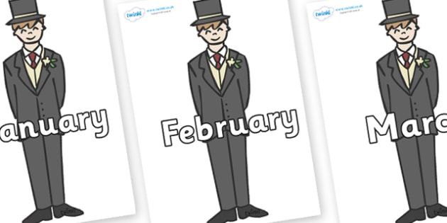 Months of the Year on Grooms - Months of the Year, Months poster, Months display, display, poster, frieze, Months, month, January, February, March, April, May, June, July, August, September