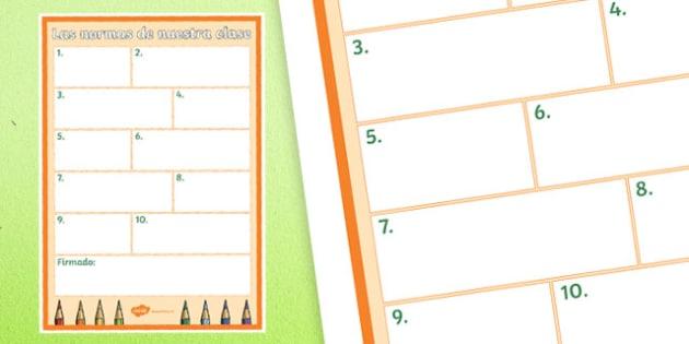 Plantilla - Las normas de nuestra clase - spanish, Comportamiento, normas, la clase