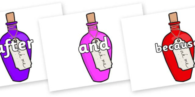 Connectives on Drink Me Bottles - Connectives, VCOP, connective resources, connectives display words, connective displays