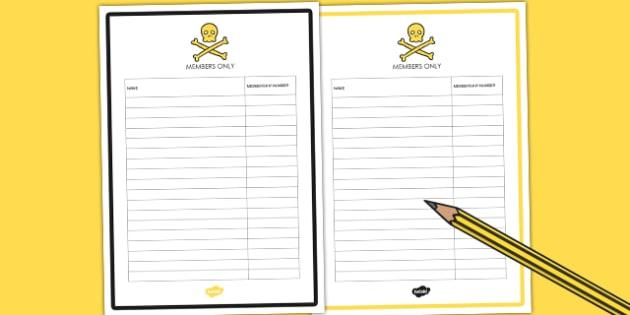 Editable Club Membership List - props, role play, den, club