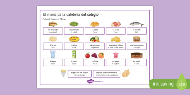 Food and Meals at the School Canteen Word Mat Spanish Translation - spanish, food, meals, school canteen, school, canteen, word mat