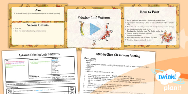 Art: Autumn: Printing Leaf Patterns LKS2 Lesson Pack 3
