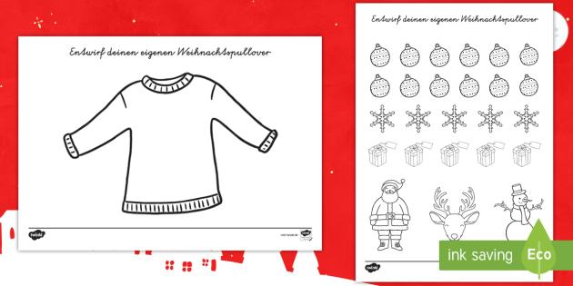 Weihnachtspullover Ausschneiden und Kleben Arbeitsblatt