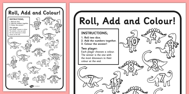 Dinosaur Colour and Roll Worksheet / Activity Sheet ...