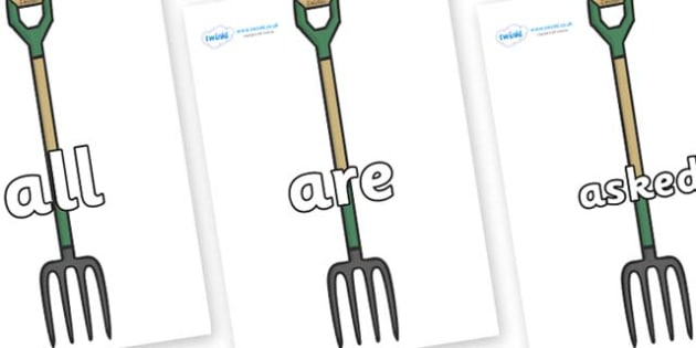 Tricky Words on Garden Forks - Tricky words, DfES Letters and Sounds, Letters and sounds, display, words