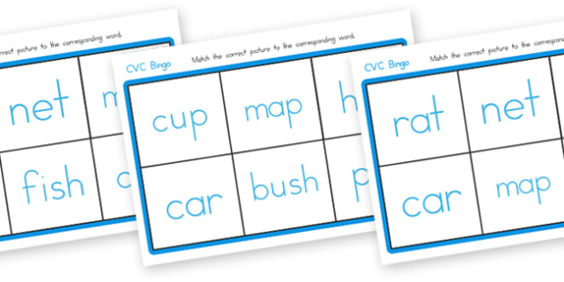 CVC Bingo Matching Card Game - CVC, bingo, matching, CVC cards