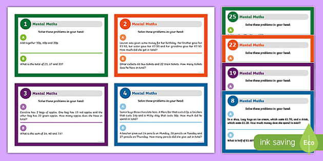 Mental Maths Challenge Cards - mental maths, maths, numeracy