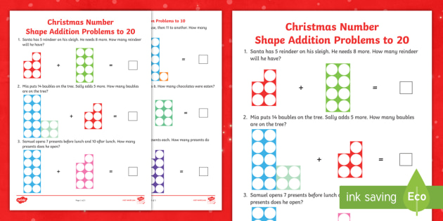 Christmas Number Shape Addition Problems to 20 Worksheet - addition