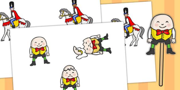 Humpty Dumpty Stick Puppets - nursery rhymes, activity, puppets