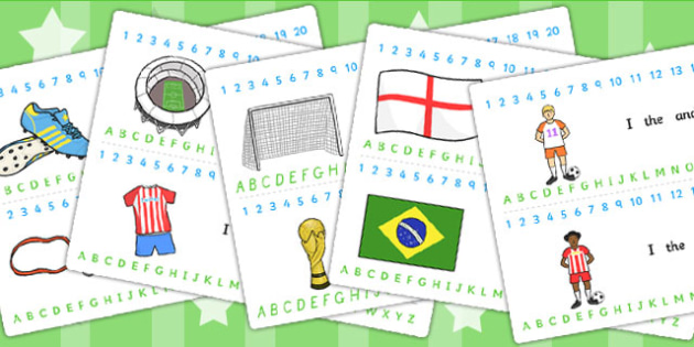 Football World Cup Combined Number and Alphabet Strips - alphabet