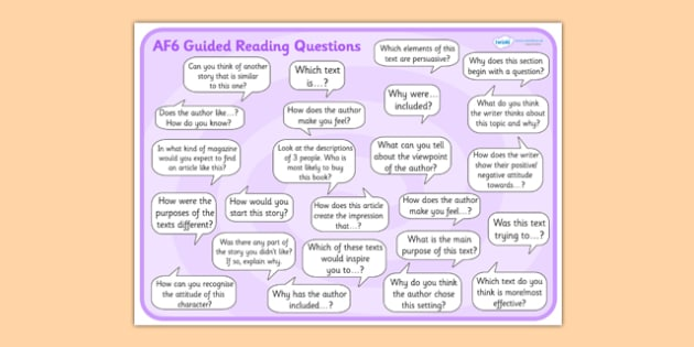 AF6 Guided Reading Question Mat - assessment focus 6 mat, af mat, af6 mat, assessment focus questions, af6 questions mat, assessment focus reading mat, af6