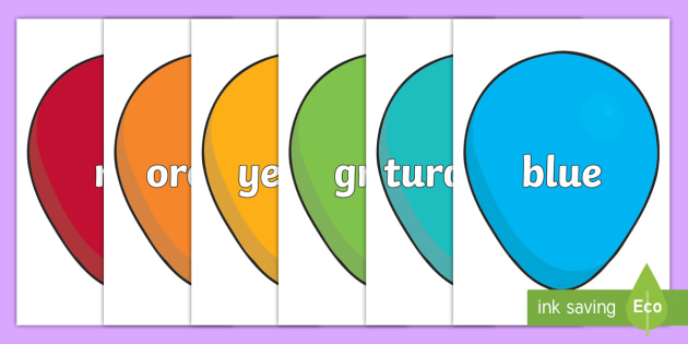 Colour Word Balloons - colour baloons, colour, colouring, colour mixing, black, white, red, green, blue, yellow, orange, purple, pink, brown