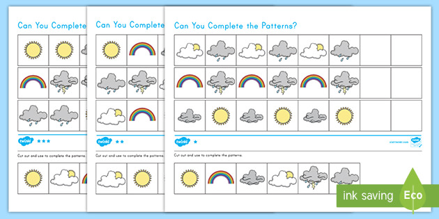 Weather Differentiated Complete The Pattern Activity