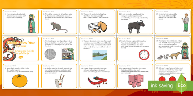year 1 chinese new year maths word problem challenge cards englishhindi new year