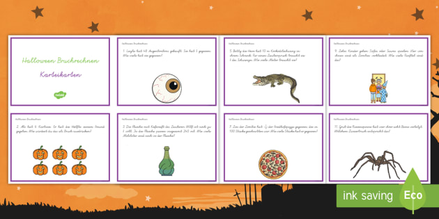 Halloween Bruchrechnen Din A4 Karteikarten Brüche Rechnen Halloween