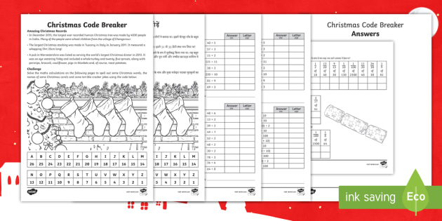Ks2 Christmas Code Breaker Differentiated Activity Sheets English Hindi