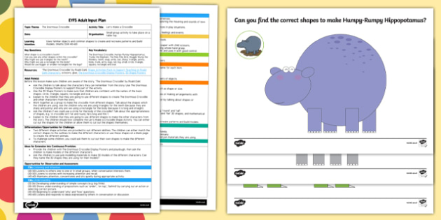 EYFS Let's Make a Crocodile Adult Input Plan and Resource Pack to Support Teaching on The Enormous Crocodile