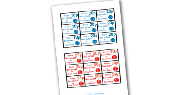 Bus Station Role Play Tickets - Bus role play, transport, tickets, ticket, adult, child, bus route, role play, buses, bus station, ticket