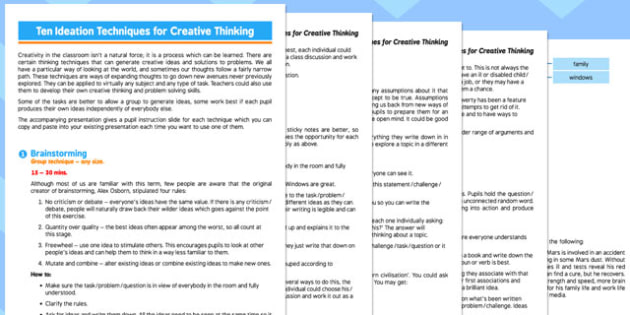 Ten Ideation Techniques for Creative Thinking in the Classroom