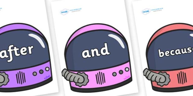 Connectives on Astronaut Helmet - Connectives, VCOP, connective resources, connectives display words, connective displays