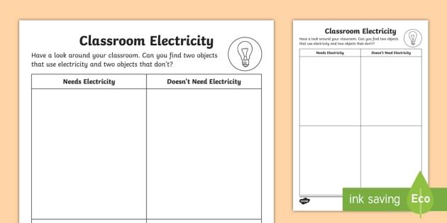 Junior Senior Infants Electricity in My Home Worksheet ...