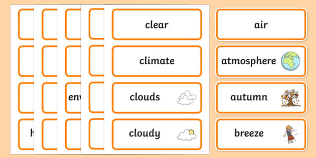 Weather In My World Word Wall Display Cards - australia, Australian Curriculum, Weather In My World, science, kindergarten, word wall, display
