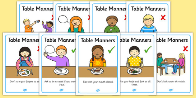 Table Manners Rules Display Posters Table Manners Rules