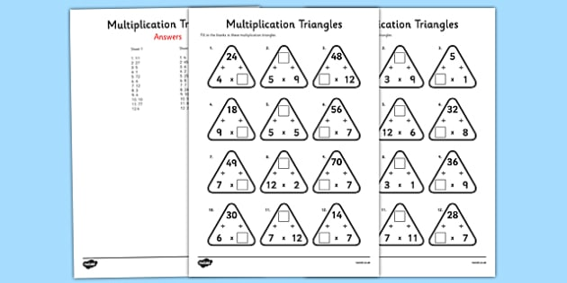 Multiplication Triangles Activity Sheet 2 to 12 Times Tables - multiplication triangles, times table, times tables, worksheet