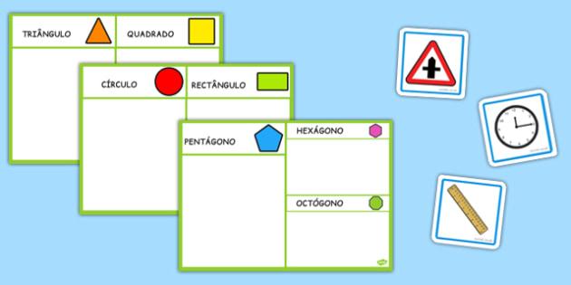 2D Shape Sorting Activity Portuguese - portuguese, 2d shape, sorting, activity, 2d, shape