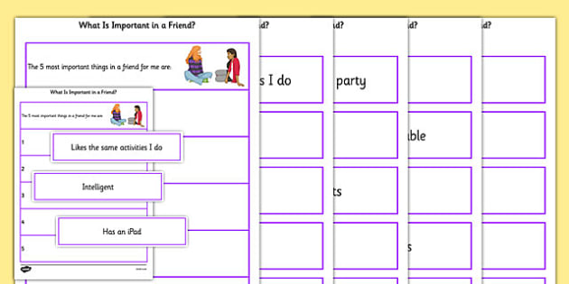KS3 What Is Important In A Friend Sorting Activity - SEN, support, behaviour, relationships, secondary, activity, PSHE, sharing, caring, understanding, relationship