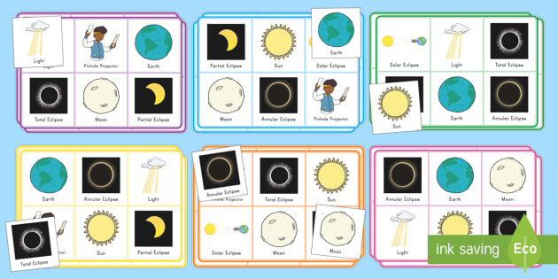 USA Solar Eclipse Themed Bingo - space, science, moon, sun, great american eclipse