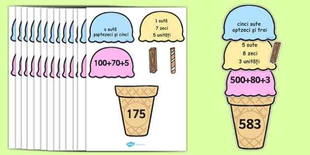 Înghețata cu sute, zeci și unități - Joc matematic