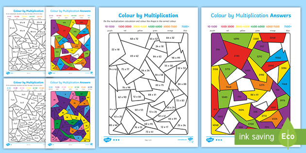 Differentiated Colour By Multiplication Worksheet