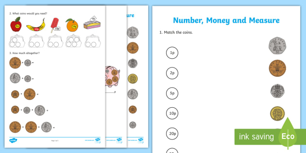 Early Level Assessment Numeracy and Mathematics Number, Money and Measure Activity Sheet  - CfE Early Level Assessment, money, coins, addition, subtraction,Scottish, Worksheet