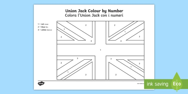 NEW Union Flag Colour By Number Activity Sheets English Italian