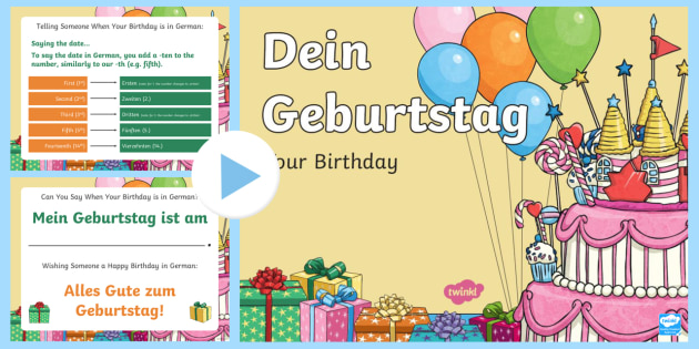 Birthday PowerPoint German - Months of the Year, Days of the Week, Birthdays and Seasons