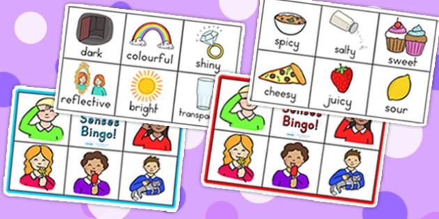My Senses Bingo - senses, bingo, ourselves, ourselves games