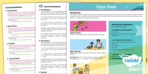 Art: Colour Chaos KS1 Planning Overview CfE