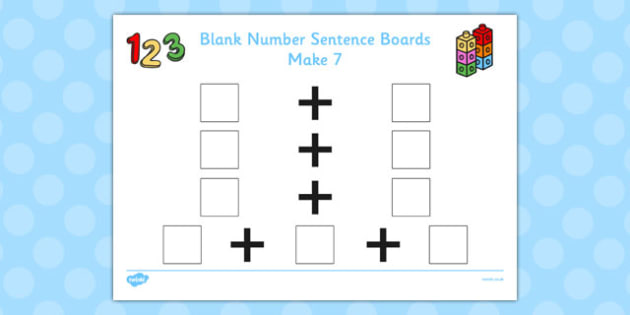 Blank Number Sentence Boards to 10 Make 7 - sentence boards