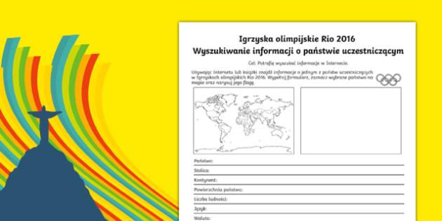Karta Olimpiada Rio Kraje uczestniczące po polsku