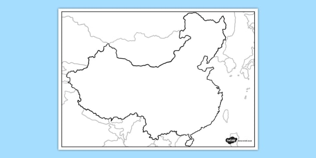 Blank Map of China   blank map, china, blank, map, geography