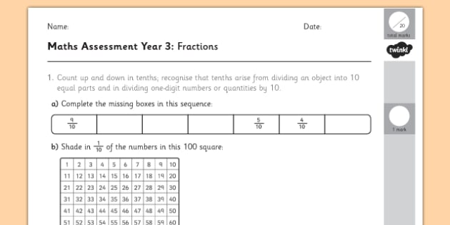 year 3 maths assessment fractions term 1 fraction numbers assessment. Black Bedroom Furniture Sets. Home Design Ideas