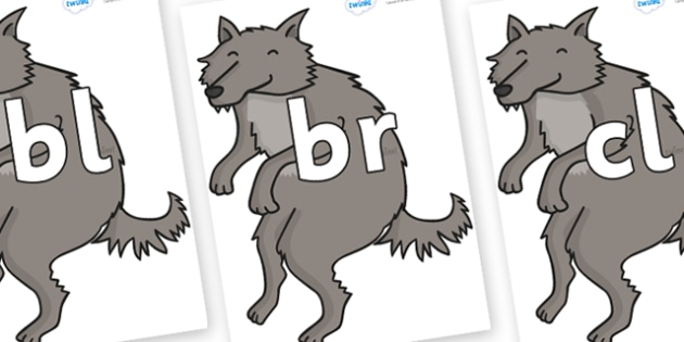 Initial Letter Blends on Wolf - Initial Letters, initial letter, letter blend, letter blends, consonant, consonants, digraph, trigraph, literacy, alphabet, letters, foundation stage literacy