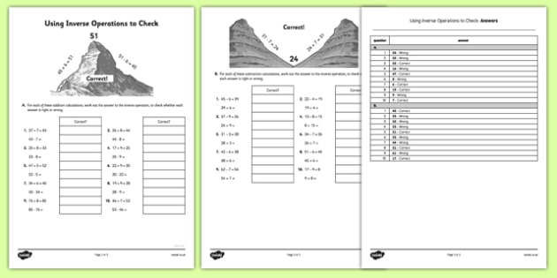 Inverse Operations to Check Answers Worksheet