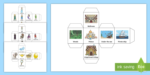 Story Telling Prompt Dice Nets - Story, Dice, questions, review